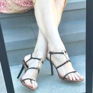 GUCCI dark brown leather STRAPPY HEELS sandals 8